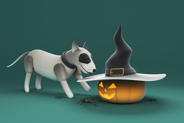 Cane dell'illustrazione 3d che gioca zucca che porta un cappello con il ragno
