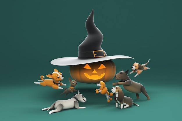 Cane dell'illustrazione 3d che gioca con il cappello della strega da portare della zucca