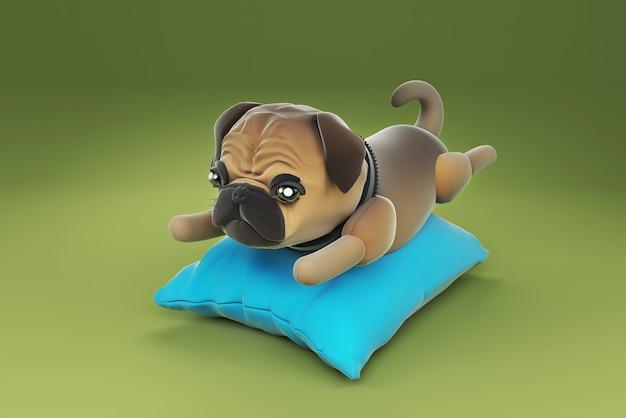 Illustrazione 3d cane che dorme sul cuscino