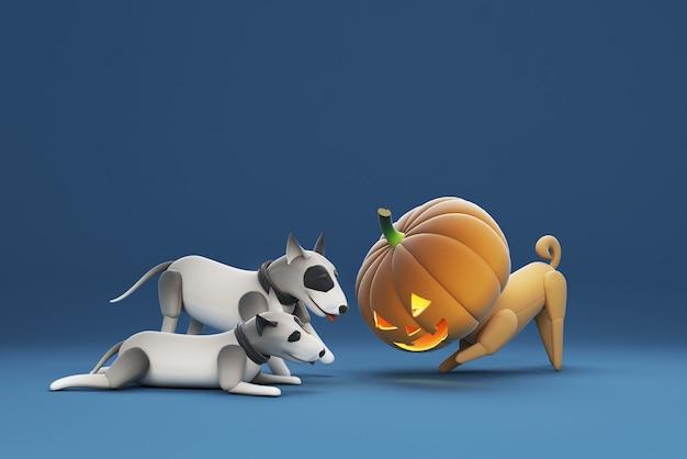 3d illustrazione di un cane che indossa una maschera di zucca