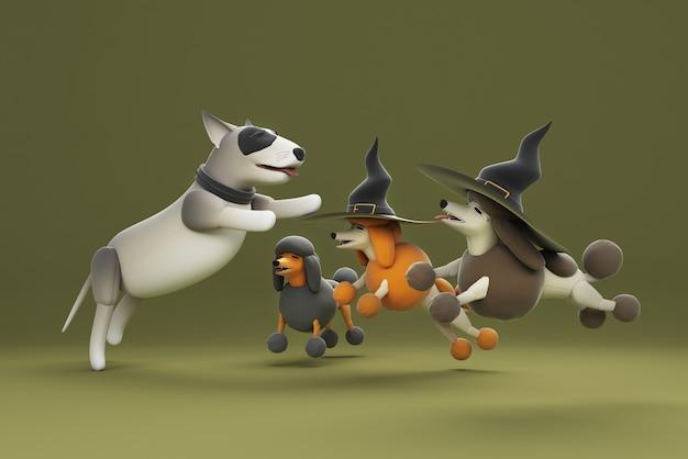 3d illustrazione di un cane che indossa un cappello da strega