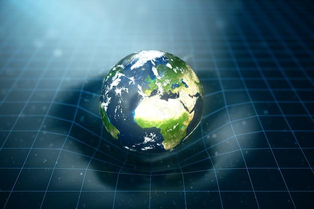 Illustrazione 3d la gravità terrestre piega lo spazio attorno ad essa. con effetto bokeh. la gravità del concetto deforma la griglia spazio-temporale attorno all'universo. curvatura dello spaziotempo. elementi di questa immagine forniti dalla nasa.