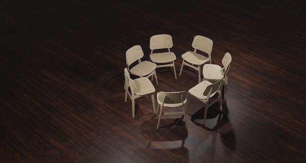 Illustrazione 3d sedia vuota preparata per la terapia di gruppo nell'ufficio dello psicologo. su un pavimento di legno scuro che esprime emozioni ansiose e nebulose