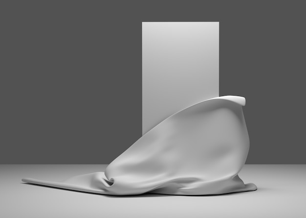 Illustrazione 3d. banner di presentazione vuoto con posto per il testo. tessuto, seta apre parte del pannello bianco. render.