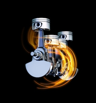 Illustrazione 3d dei chiodi del motore con tracce di energia