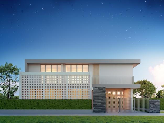 Illustrazione 3d dell'edificio esterno con giardino