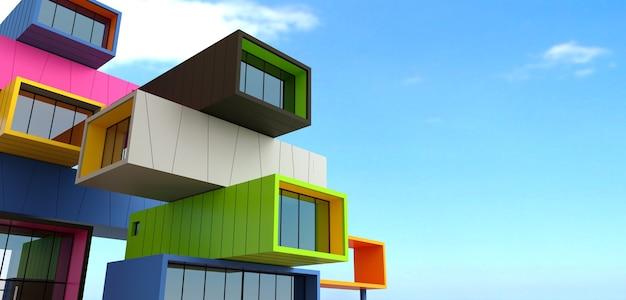 Illustrazione 3d. facciata del grattacielo da contenitori. ufficio o hotel moderno in una metropoli