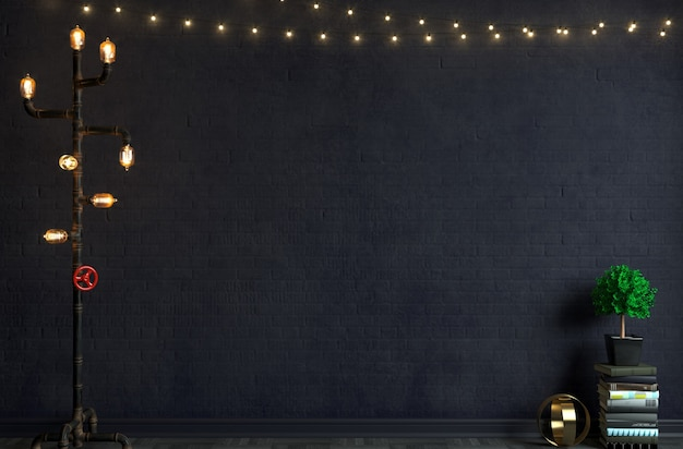 Illustrazione 3d. lampada da terra in vecchio muro di mattoni stile loft. sfondo per studio o intervista