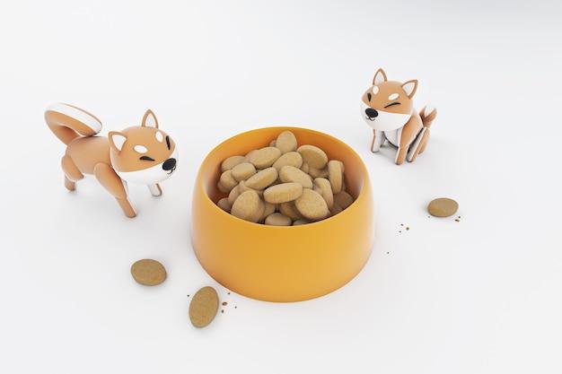 Illustrazione 3d di cibo per cani shiba