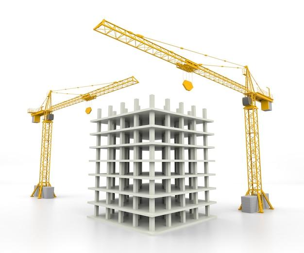 Illustrazione 3d della costruzione della casa di struttura con la gru sopra fondo bianco. rendering 3d