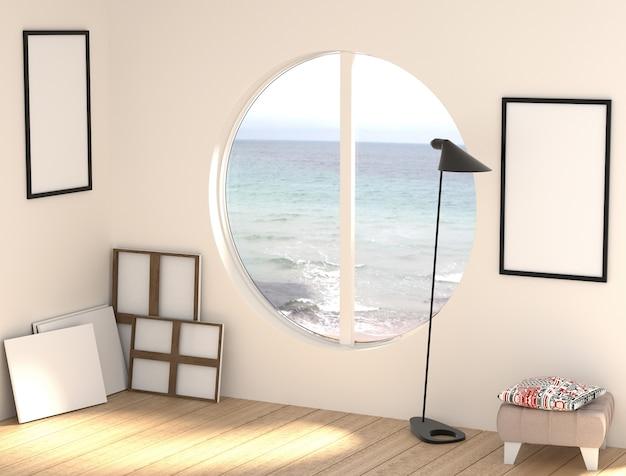 Illustrazione 3d di un laboratorio di artista libero con tele vuote e cornici.