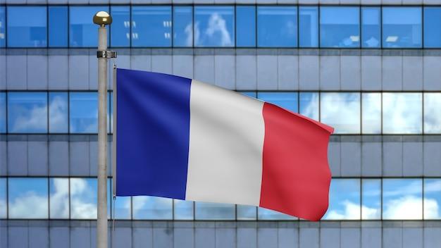 Illustrazione 3d bandiera francese che sventola in una moderna città grattacielo. bellissima torre alta con bandiera francia in morbida seta liscia. fondo del guardiamarina di struttura del tessuto del panno. giornata nazionale del concetto di paese.