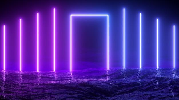 Illustrazione 3d. futuristico sci-fi incandescente luci al neon