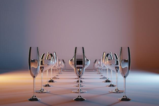 Bicchieri di illustrazione 3d per champagne, whisky, cognac, martini, piccoli bicchieri brillano magnificamente e stanno in file pari su uno sfondo grigio-marrone isolato