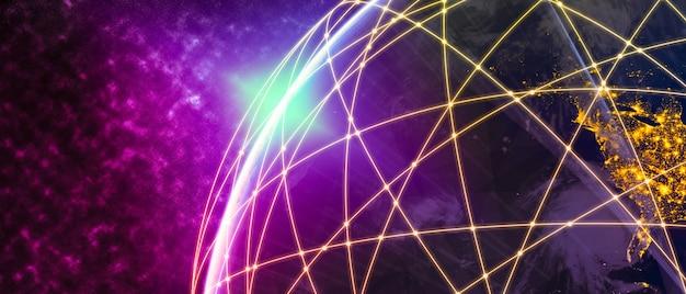 Illustrazione 3d comunicazione creativa moderna globale e mappa della rete internet Foto Premium