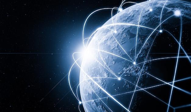 Illustrazione 3d comunicazione creativa moderna globale e mappa della rete internet
