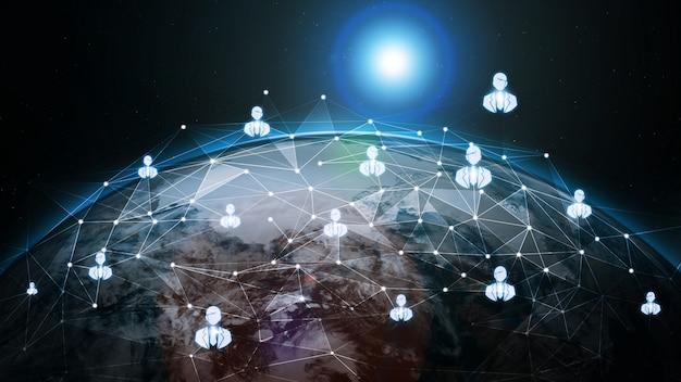 Comunicazione creativa moderna globale dell'illustrazione 3d e mappa della rete internet