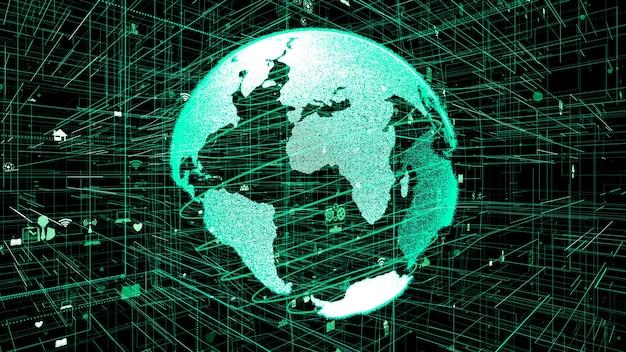 Illustrazione 3d del concetto di rete internet online globale