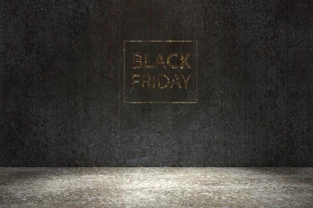Illustrazione 3d. carattere del black friday gloden su parete in legno nero e pavimento in legno. regala voucher, banner, poster o sfondo, arte della carta e stile artigianale