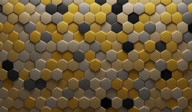 Illustrazione 3d oro metallico astratto. esagono in rilievo, ombra a nido d'ape