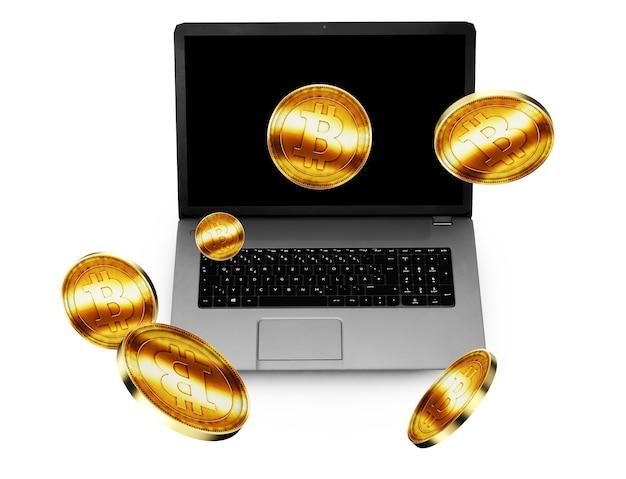 Illustrazione 3d di golden bitcoin che viene inserito nell'accettatore di monete su un laptop Foto Premium