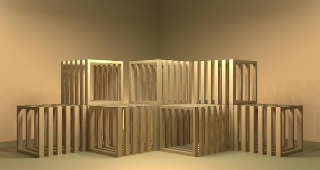 Illustrazione 3d del display del prodotto in legno dorato