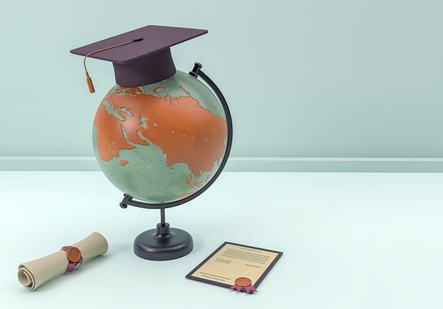 Illustrazione 3d. tappo di laurea e diploma con un globo terrestre