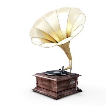 Illustrazione 3d del grammofono isolato su bianco.