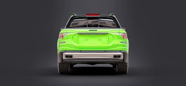 3d illustrazione del concetto verde cargo pickup truck su sfondo grigio isolato. rendering 3d.