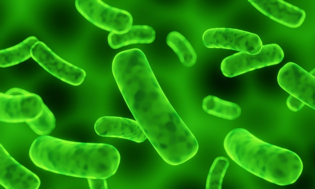 Illustrazione 3d batteri microscopici verdi