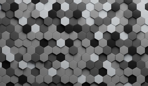 Illustrazione 3d estratto grigio. esagono in rilievo, ombra a nido d'ape