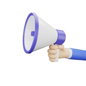 Illustrazione 3d della mano che tiene il megafono adatto per cercare lavoro o assumere lavoro e promozione con sfondo bianco Foto Premium