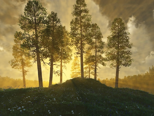 Illustrazione 3d di collina e alberi