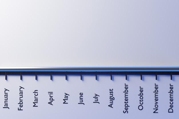 Illustrazione 3d di una scala orizzontale con i nomi dei mesi dell'anno.