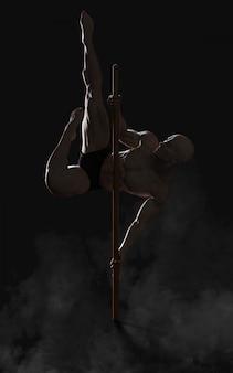 Illustrazione umana umana che mostra il ritratto di kung fu di un guerriero antico muscolare bello con il percorso di ritaglio