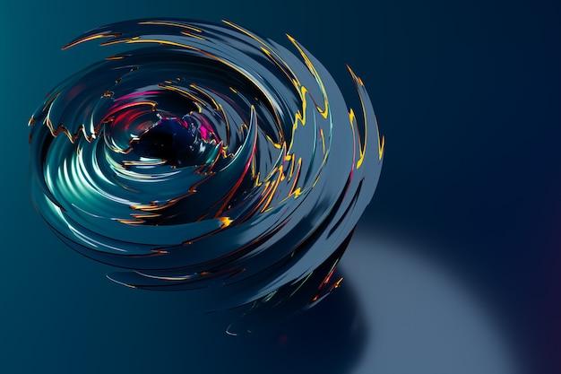 Illustrazione 3d di un pattern ipnotico. astratto sfondo blu con cerchi luccicanti e glitter. design di sfondo lussuoso