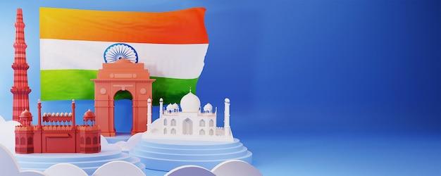 Illustrazione 3d dei monumenti famosi dell'india con la bandiera nazionale e lo spazio della copia su cenni storici blu.