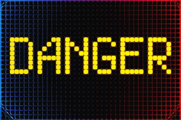 Iscrizione di illustrazione 3d pericolo da piccoli cubi gialli su uno sfondo al neon. illustrazione di pericolo, attenzione