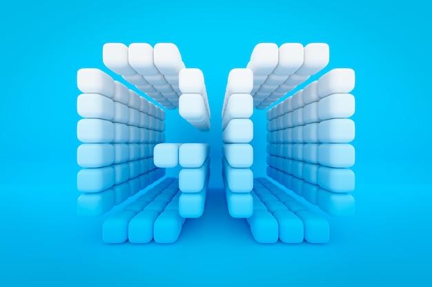 Iscrizione di illustrazione 3d vai da piccoli cubi bianchi su sfondo blu isolato. illustrazione di azione e movimento in avanti