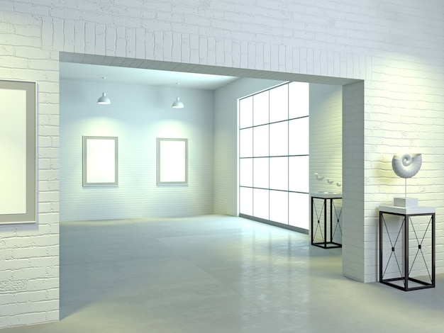 Illustrazione 3d. interno di una galleria d'arte leggera in stile loft. palestra o mostra. museo
