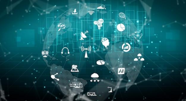 Illustrazione 3d comunicazione internazionale e rete internet avanzata.