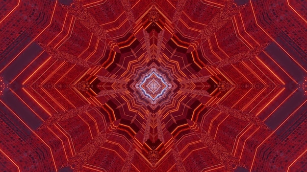 Fondo astratto caleidoscopico dell'illustrazione 3d con il design simmetrico al neon rosso che crea l'illusione ottica del tunnel futuristico senza fine