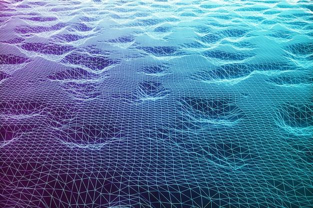 Illustrazione 3d paesaggio sullo sfondo. griglia del paesaggio cyberspazio. tecnologia 3d. paesaggio blu astratto su fondo nero con i raggi luminosi.