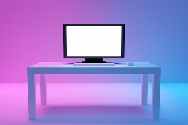 L'illustrazione 3d di grande tv piana sta su un tavolino da salotto bianco su un fondo blu-rosa.