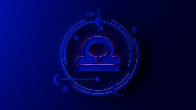 Illustrazione 3d del segno zodiacale bilancia su sfondo scuro. oroscopo. tarocchi.