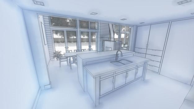 Illustrazione 3d di interior design della cucina e del salone.