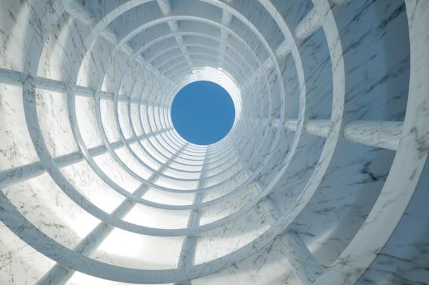 Illustrazione 3d. inquadratura dal basso del moderno edificio in marmo. concetto di architettura.