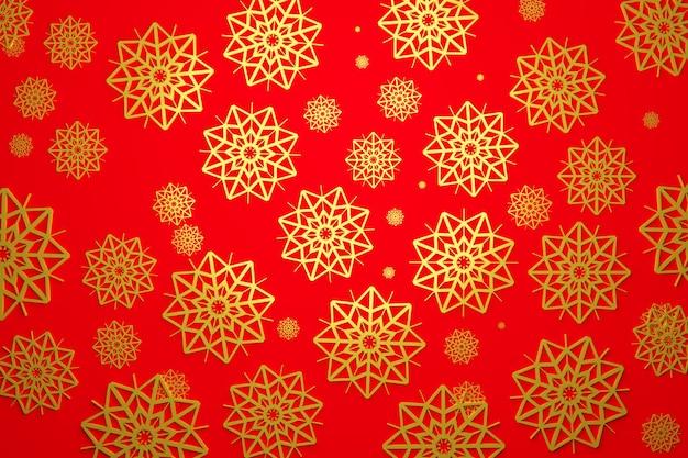 Illustrazione 3d di molti fiocchi di neve d'oro di diverse dimensioni e forme su uno sfondo rosso. modello di fiocco di neve invernale