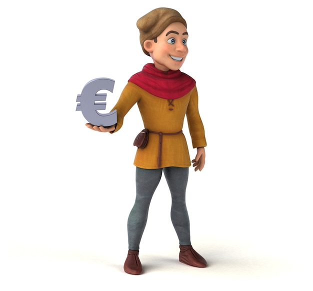 Illustrazione 3d di un personaggio storico medievale