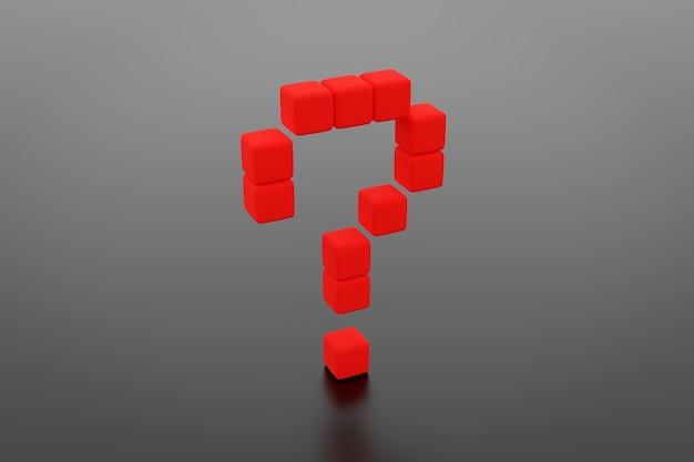 Illustrazione 3d di messaggi sotto forma di un punto interrogativo su sfondo nero. illustrazione di una domanda, incertezza. simbolo di negoziazione e incertezza